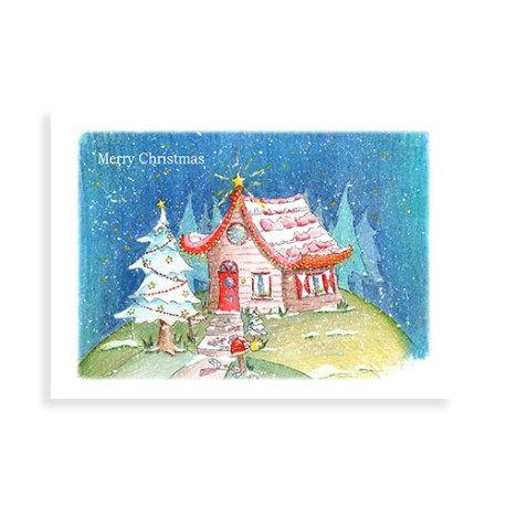 Kerstkaart met illustratie van Illu-Straver. Kersthuisje met kerstboom en heel veel kerstkaarten op de stoep.