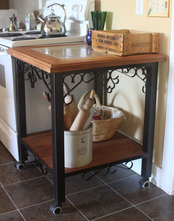 Hand Crafted Wrought Iron Kitchen Cart Cutting Board Bbq Stand Cedar Inlay  Porcelain Tile Top.