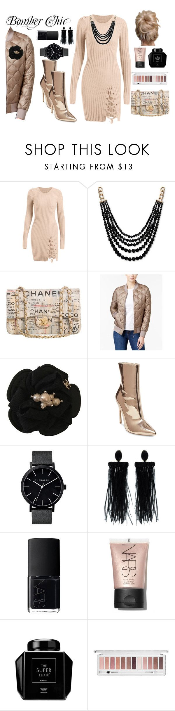 """Bomber Chic"" by wildorchid21-1 ❤ liked on Polyvore featuring Anne Klein, Chanel, 32 Degrees, Steve Madden, Oscar de la Renta and NARS Cosmetics"