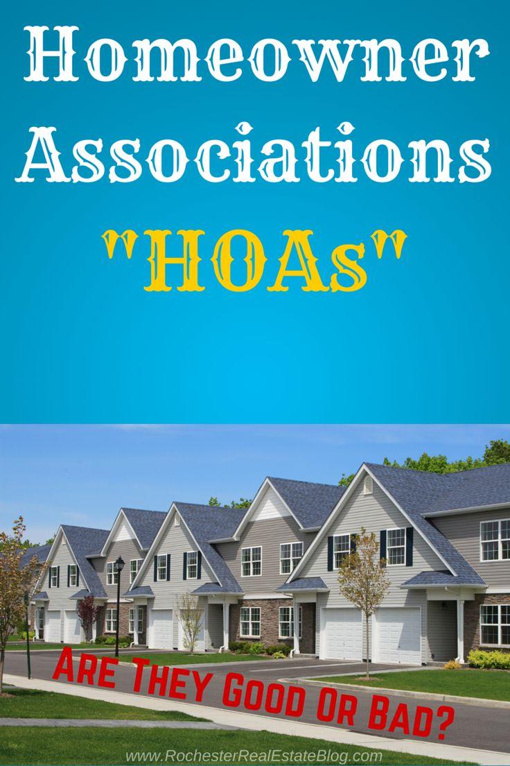 Homeowner Associations (HOAs): Good or Bad?  http://www.rochesterrealestateblog.com/homeowner-associations-hoas-good-or-bad/