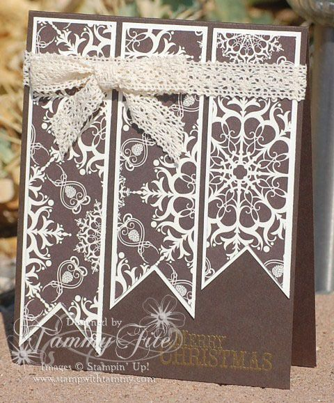 Christmas card in chocolate and white ... would be quick and easy with die cut banners and patterned paper ...Stampin' Up!