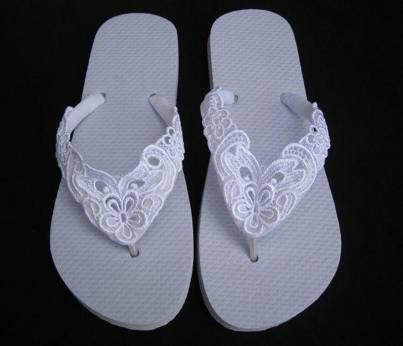 Spitze BESTICKTE Hochzeit Braut Flip-Flops in Ivory oder weiß