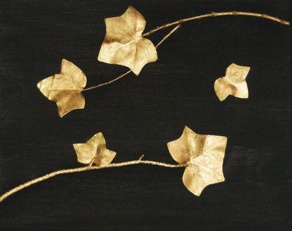 Gold Nature Art 3D wall Art Black and Gold Metallic by Teakberry