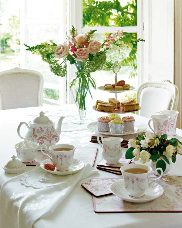 """""""The hour […] can be anywhere between three and six o'clock in the afternoon. The general rule is that the earlier tea is served, the lighter the refreshments. At three, tea is usually a snack — dainty finger sandwiches, petits fours, fresh strawberrries; at six, it can be a meal — or """"high"""" tea — with sausage rolls, salads, and trifle.""""—Angela Hynes(The Pleasures of Afternoon Tea) (via pinterest)"""