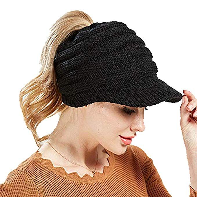 Vivipa Winter Ponytail Beanie For Women Warm Stretch Knit Hat Messy High Bun Visor Beanie Cap Skullies Beanies Hats Warm Knits Winter Hats Knitted Hats