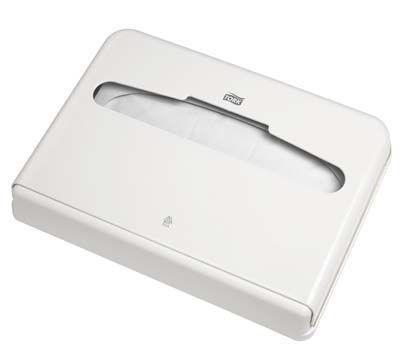 Dispenser Tork pentru colaci WC, plastic alb, rezistent la socuri.