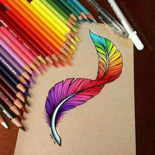 Imagen de art, drawing, and feather