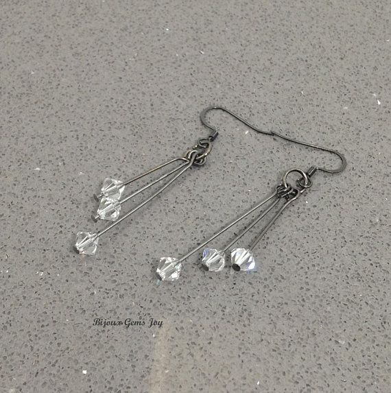 Crystal Steel Earrings Clear Swarovski Crystals Gunmetal