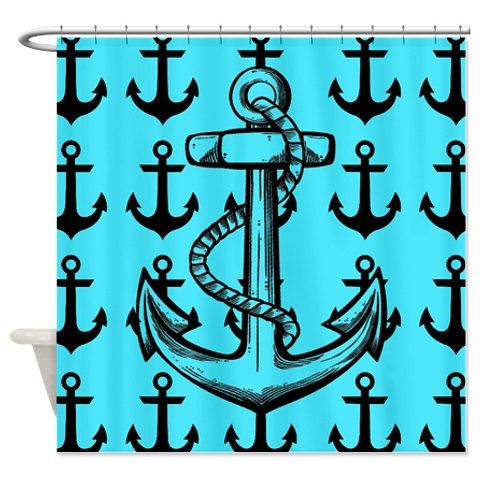 Nautical Anchor Pattern Shower Curtain Blue by xOnceUponADesignx