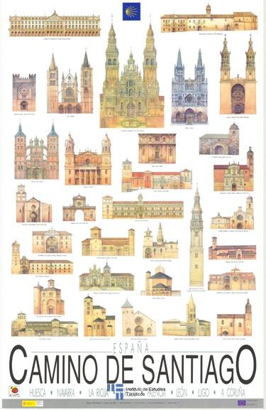 Cartel de promocion turística del Camino de Santiago del año 1990 y reimpreso en el año 2004