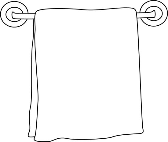 Bathroom Clip Art Black And White: Black And White Towel On A Rack