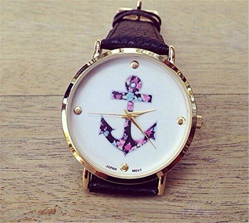 HITOP Vintage Retro Blume Damen Armbanduhr Basel-Stil Rhinestones geometrischen Fancy Anker Leather Quarz uhr Lederarmband Uhr Top Watch schwarz