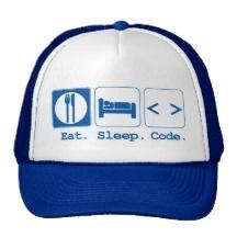 eat sleep code (html) hats