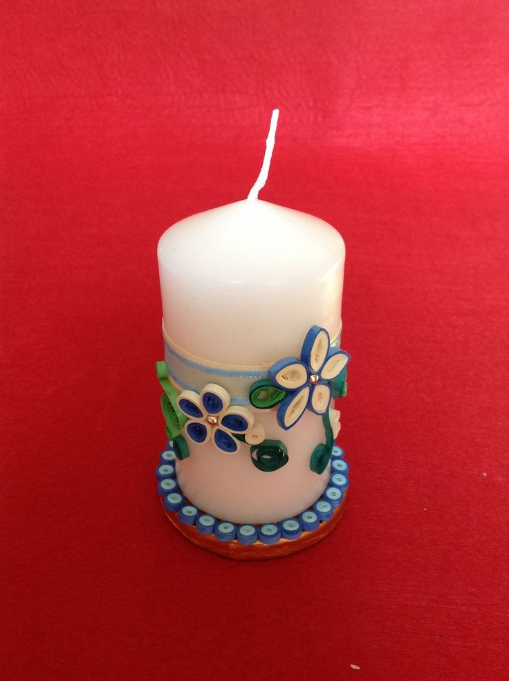 Candela natalizia i miei lavori pinterest quilling for Candle holder crafts