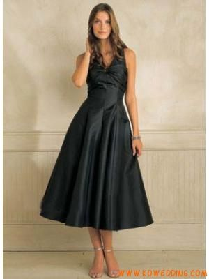 V neck a line tea length black bridesmaid dress for for Black tea length wedding dress