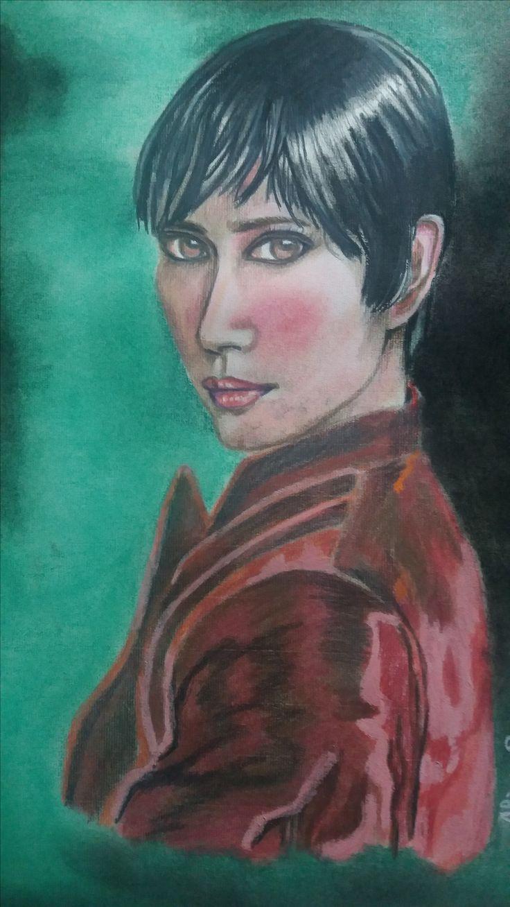 Dibujo realizado con pintura de color y pastel, de Alicia Ruiz.