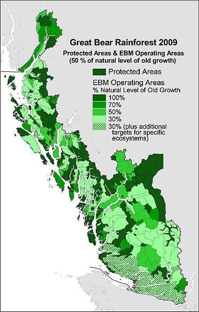 Vancouver Island Great Bear Rainforest map 2009 (Greenpeace greens)