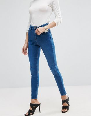 ASOS Ridley High Waist Skinny Jeans In Reef Wash