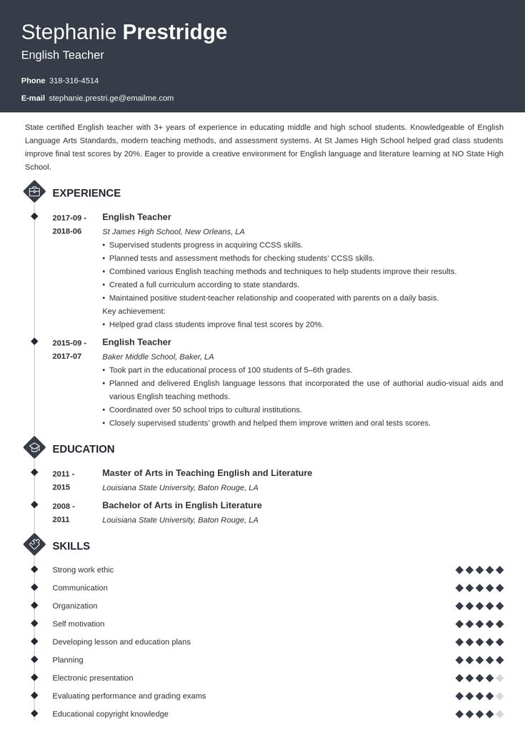 english teacher resume example template diamond in 2020