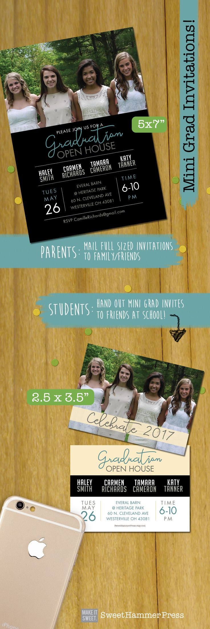 These mini graduation invites or trading card grad announcements are fun to hand out to classmates to invite them to your graduation party.