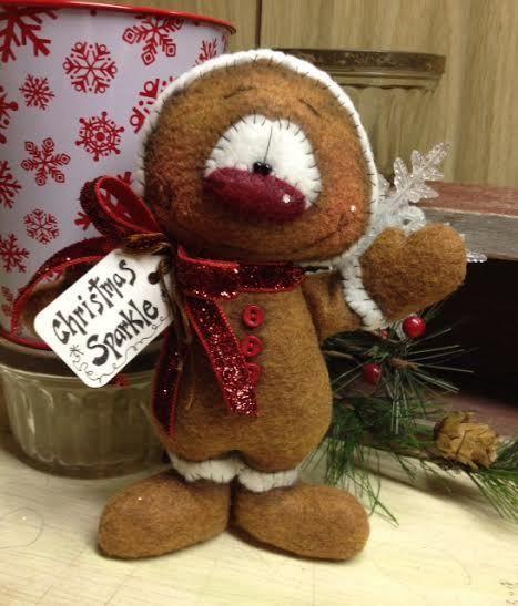 Muñeca primitivo Raggedy Navidad Pan De Jengibre Hombre De Nieve Invierno Nieve Estante Sitter