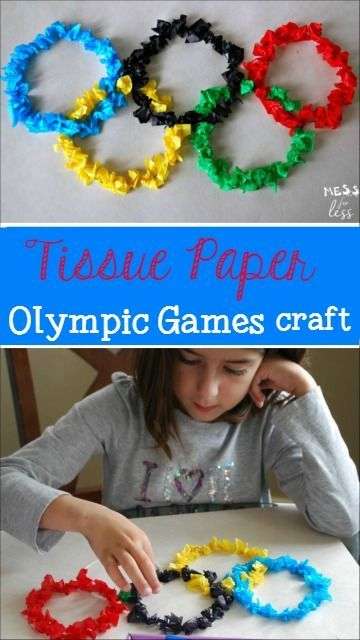 Tissue Paper Olympic Games Craft - get ready for the Olympic games with this fun activity which promotes fine motor skills for kids. @Bounty #quicktip #ad