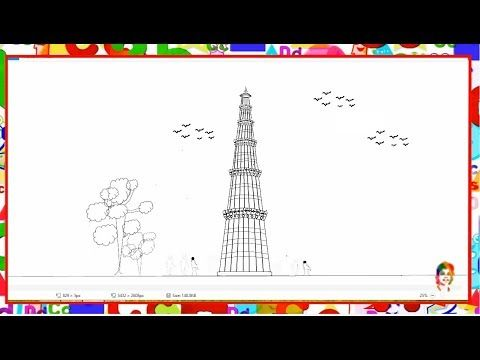 How To Draw Qutub Minar Step By Step Learn By Art Youtube Youtube Art Drawings Easy Drawings