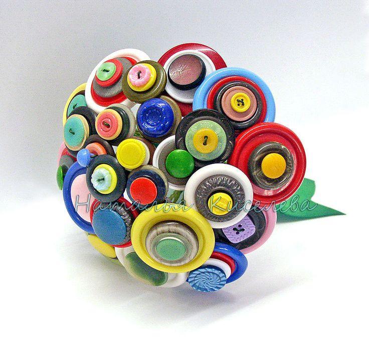 Купить Подарочный букет из пуговиц Радужный - букет из пуговиц, разноцветный, оригинальный букет, подарочный букет