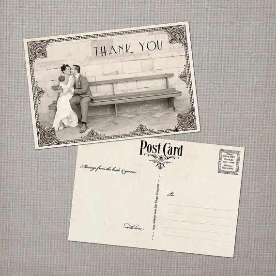 Wedding Thank You Postcard  the Lilliana by NostalgicImprints, $38.00