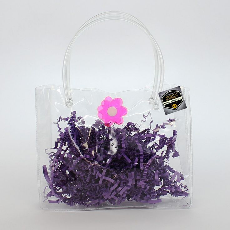 Birthday Party Gift Favor Clear Soft Vinyl Tube Handle Bag w Flower Snap Button by Mighty Gadget (R) (6.25' x 1.25' x 5') => Tried it! Love it! Click the image. : Christmas Gifts