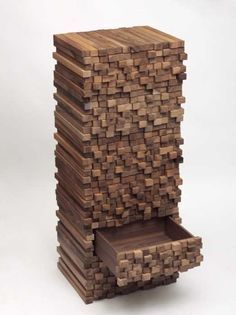 wood furniture blending traditional storage cabinet design with wood stack look