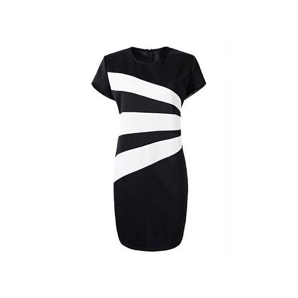 Elegant Women Black and White Stripe Plus Size Work Dress (25 CAD) ❤ liked on Polyvore featuring dresses, plus size day dresses, black and white dress, white and black dress, white and black striped dress and black and white plus size dresses