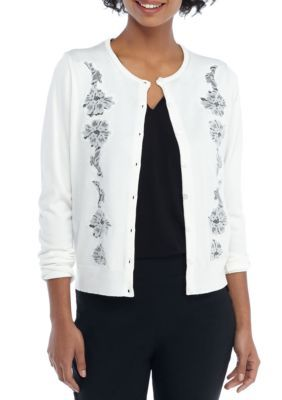 The Limited Women's Lace Inset Cardigan - Marshmallow - Xs