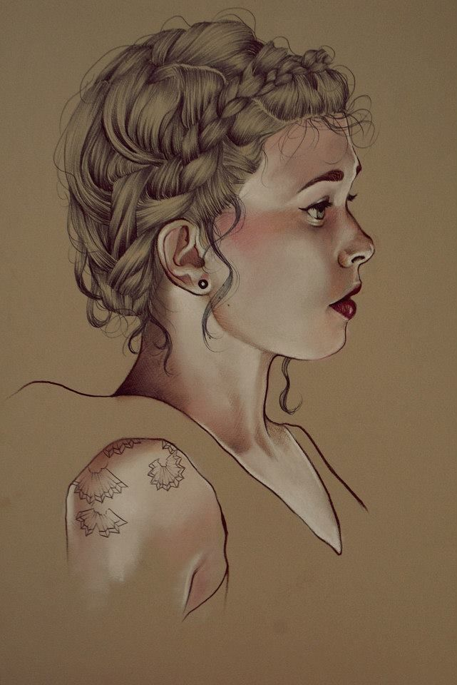 Elena Pancorbo - beautiful female portrait profile drawing