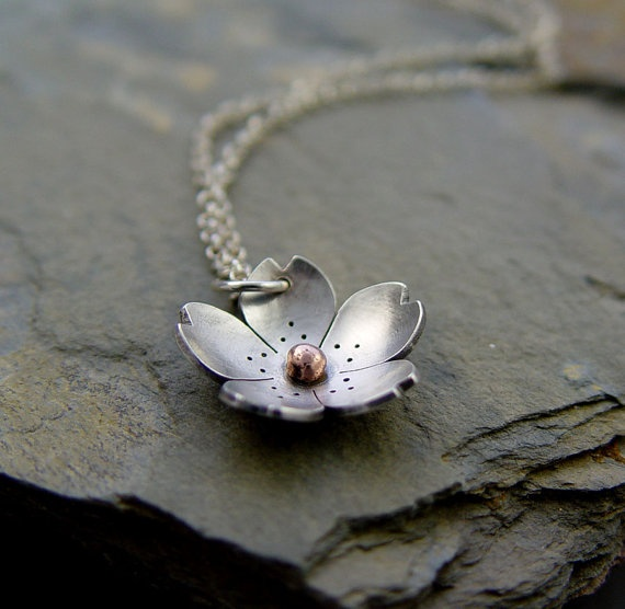 Silver Cherry Blossom Pendant  Sterling silver and by HapaGirls, $42.00