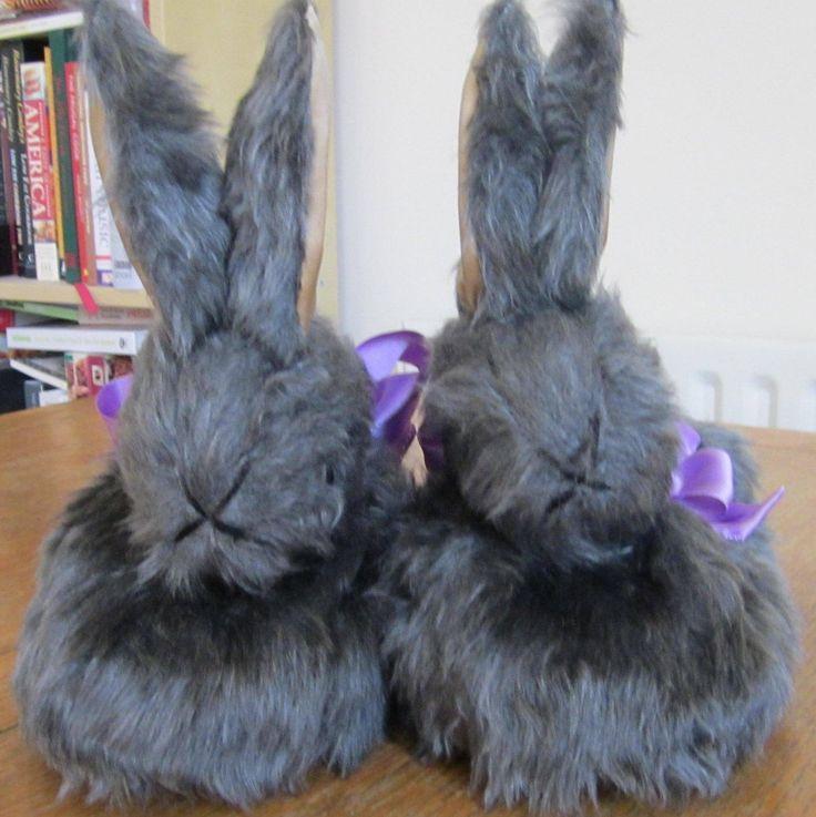 "Grey Rabbit Slipper,  Made to Measure, ""Silver Fox"" Plush Footwear, Unisex Present, Unisex Footwear, Unisex Gift, Unusual Unisex Present, by COLDHAMCUDDLIES on Etsy"