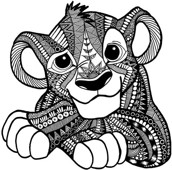 Zentangle Simba Art Print by ElFineLines Zentangle