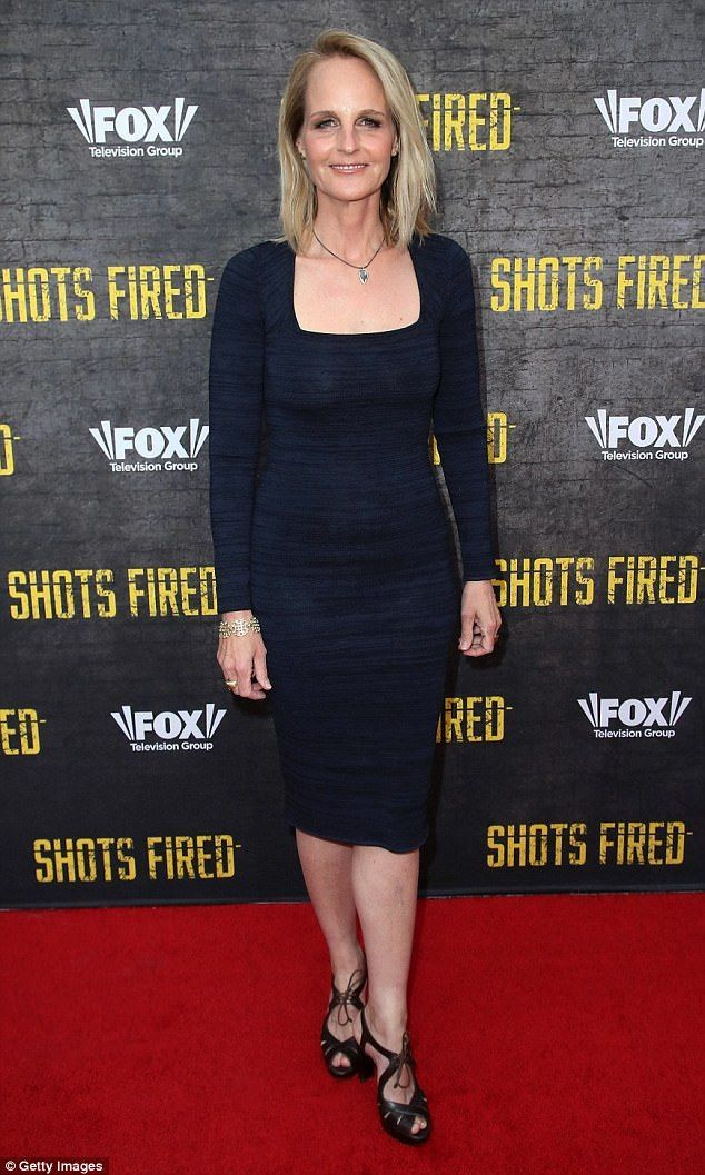 4b2d09cd87d6 She's back: Helen Hunt looked fabulous in a black crepe figure-hugging dress  as she attended an event for her FOX TV series Shots Fired in Hollywood on  ...