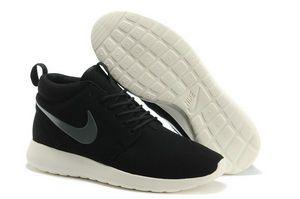 chaussures nike roshe run anti-fur Mid femme (noir/blanc/gris logo) pas cher en ligne en france.