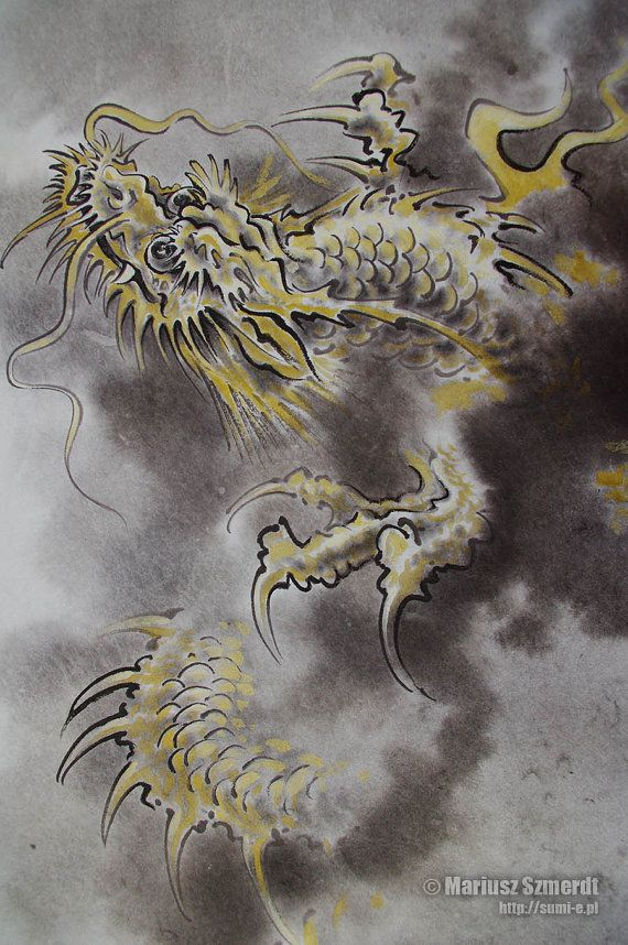 Dragon Japanese painting. Asian original artwork in by SamuraiArt