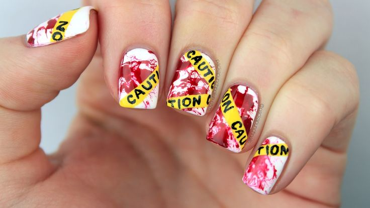 Caution Tape with Blood Splatter Nail Art with Video Tutorial | PackAPunchPolish | Bloglovin
