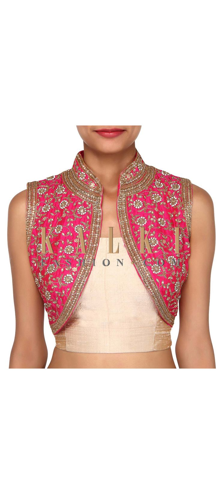Buy Online from the link below. We ship worldwide (Free Shipping over US$100). Product SKU - 275647. Product Link - http://www.kalkifashion.com/pink-shrug-features-with-kundan-embroidery-only-on-kalki.html