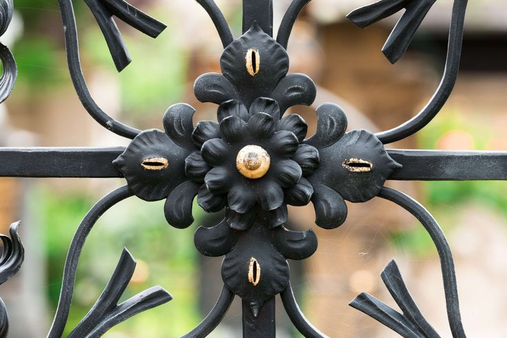 #arts and crafts #black #cemetery #cross #death #gilded #gold #grave #live #mourning #rose #wrought iron