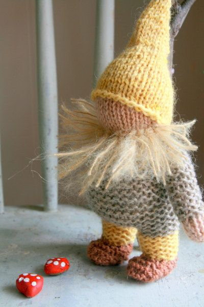 one of the sweetest knitted gnomes I ever saw!  Made by a Waldorf teacher and mama of two!  I was her first Etsy shop sale!  And I'm thrilled!  My little ones love gnomes and will love this new family member!
