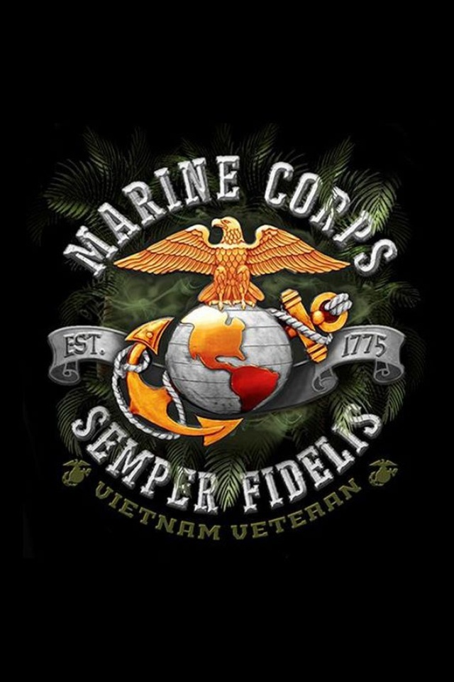 United States Marine Corps Semper Fidelis Vietnam Veteran.  The Eagle, Globe, and Anchor is the official emblem and insignia of the United States Marine Corps