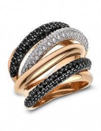 Rose gold fancy six-row band ring set with white and black diamonds.