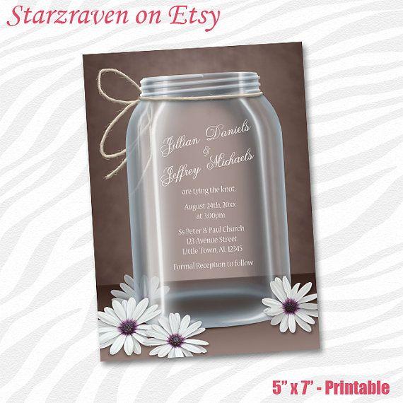 Wedding Invitations  Vintage Mason Jar Daisy Brown by Starzraven, $19.00