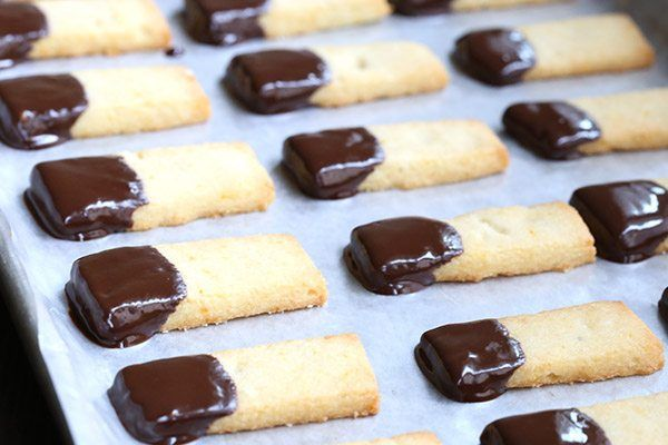 Low Carb Grain-Free Shortbread with a hint of orange zest and dipped in dark chocolate