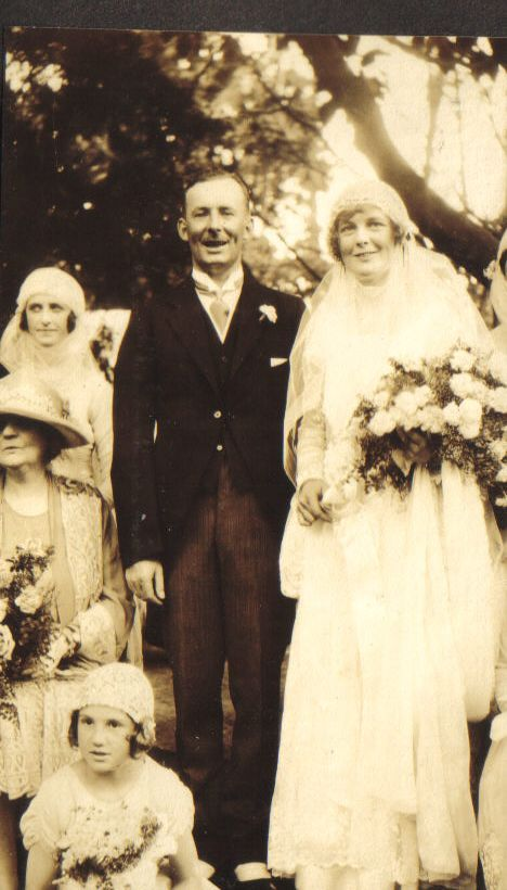 Betty Bisset and Roger Hudson at their wedding, February 1927
