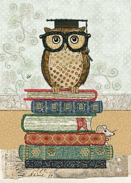 Book Owl - Bug Art greeting card Designed by Jane Crowther and Amy Butcher